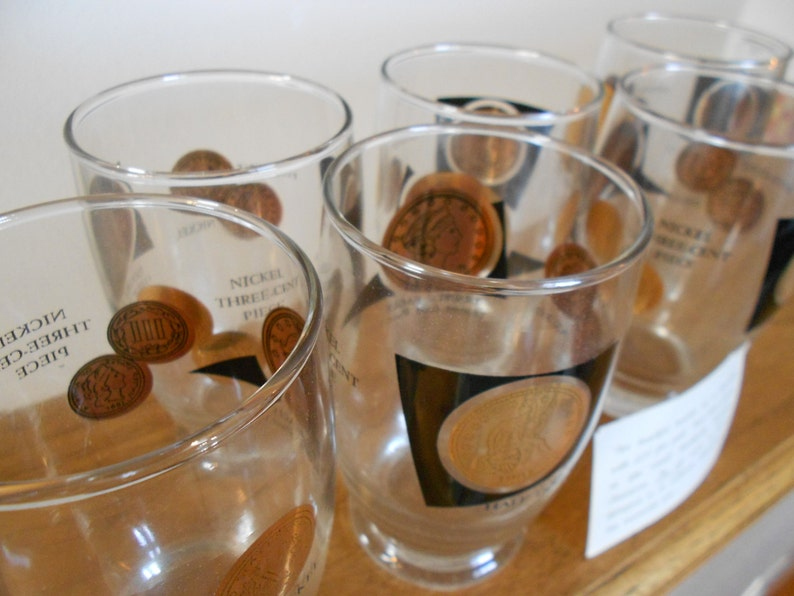 Vintage glass coin tumblers  22K fine gold  Mad Men  Set of 6 glasses