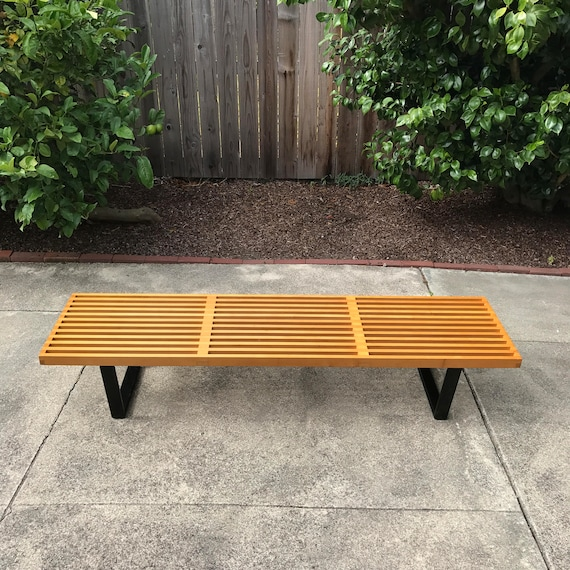 Phenomenal Early Original George Nelson Slat Bench Manufactured By Herman Miller C 1950 Theyellowbook Wood Chair Design Ideas Theyellowbookinfo
