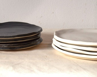 Ceramic Plates/Small Ceramic Plates/Black and White Ceramic Plates/Splatter Plates/Handcrafted Plates/Ceramic Dinnerware/Side Plates/