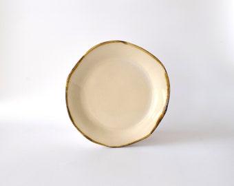 Seconds/Sample Sale! Crackly Cream Ceramic Plates/8 inch