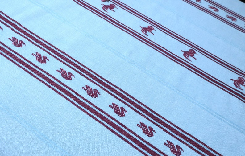Fringed Edges 32 by 35 Turquoise and Dark Berry Bird Designs Small Woven Tablecloth Luncheon Cloth Sweet Vintage Linens
