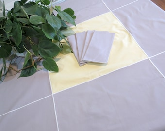 Mid Century Modern Tablecloth with 5 Matching Napkins, 52 x 48, Pale Yellow and Gray, Sturdy Cotton Blend, Vintage Linens