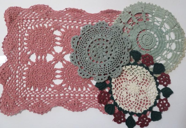 Vintage Linens 4  Crocheted Doilies Cottage D\u00e9cor Handmade in Shades of Burgundy Green and Rust Various Sizes and Patterns