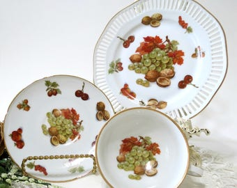 Vintage Teacup Trio by Winterling, Bavaria China, Footed Teacup, Saucer and Side Plate, Fruit and Nuts, Vintage China