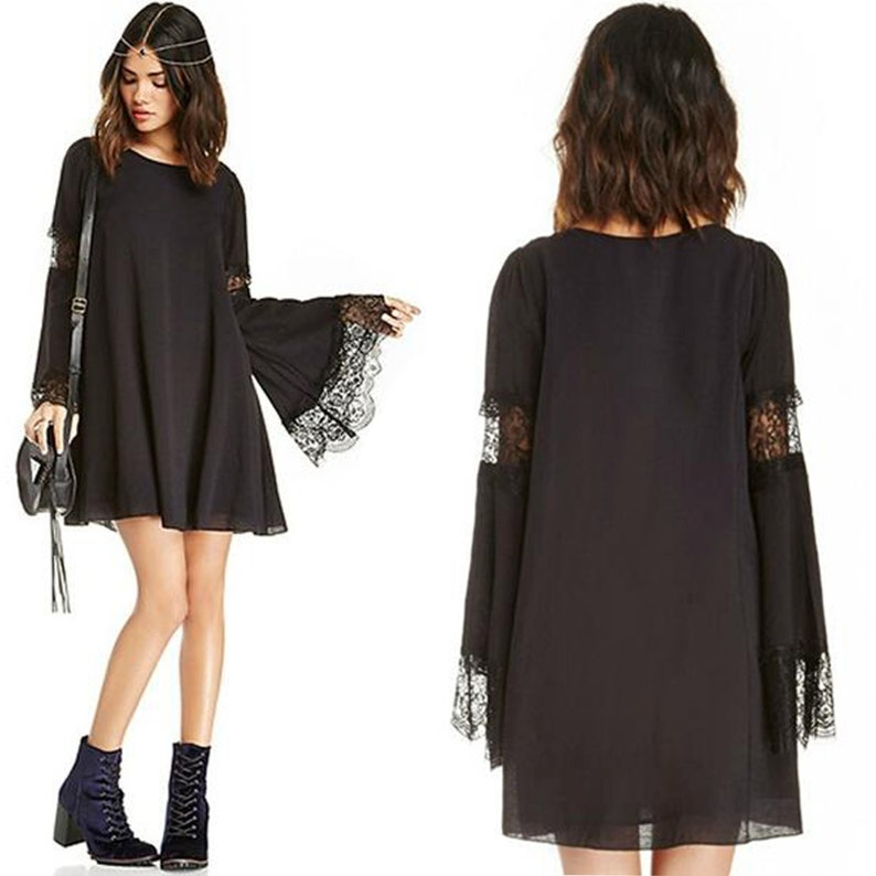 48058351bbc Bell Sleeve Dress Black Shift Dress Lace Bell Sleeves A Line