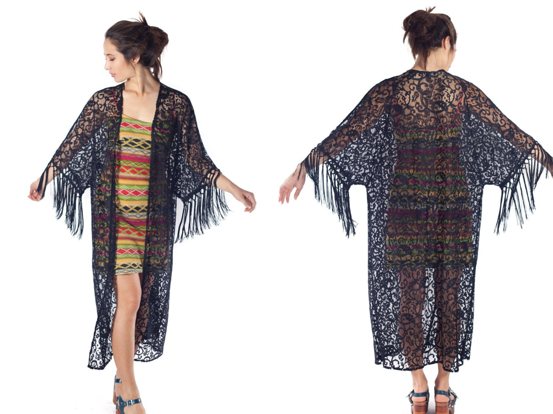 Black Lace Kimono Duster Fringe Cardigan Floor Length