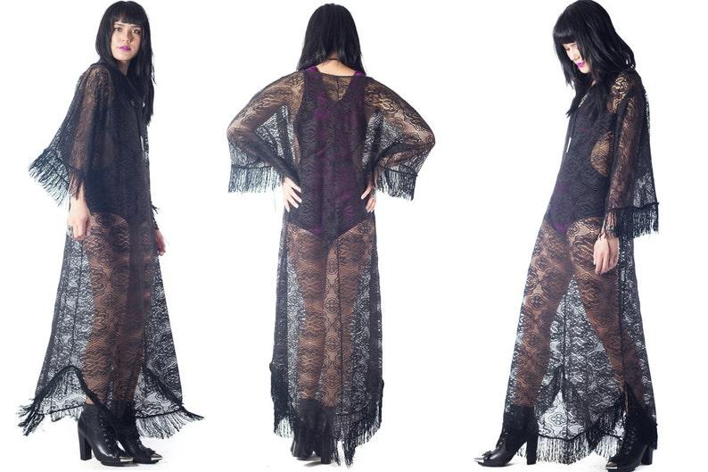 f932a86802a Kimono dress boho kaftan maxi long kimono fringe festival