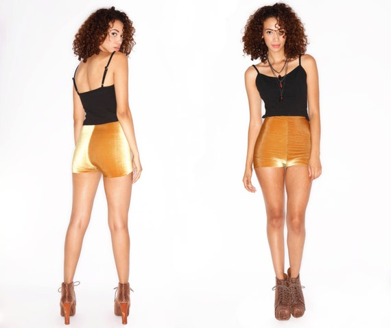 Mustard Yellow// Velvet /Biker Booty Pin-up Cheeky Shorts //  XS S M L XL // Custom Colors & Length available