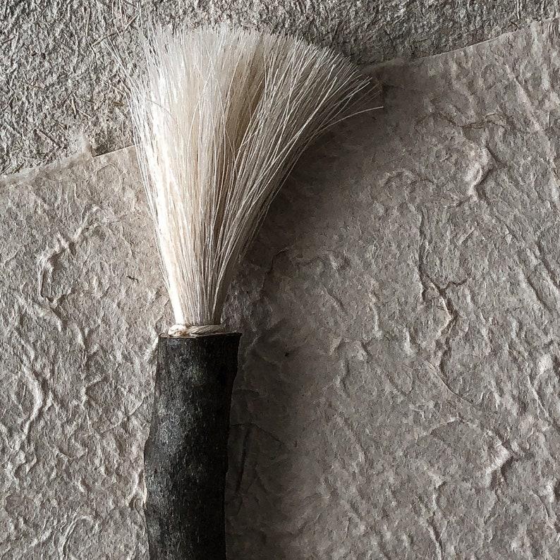 A Very Simple White Horsehair and Found Stick Mark Maker Artist Handmade Mark Making Brush