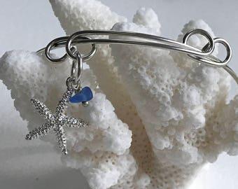 authentic sea glass adjustable bangle charm bracelet, beach bracelet, bangle bracelet, charm bracelet, beachcomber bangle bracelet