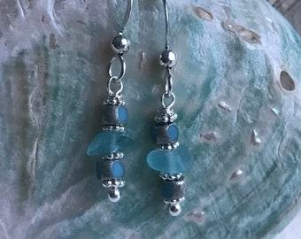 sterling silver aqua blue sea glass earrings, sea glass earrings, blue sea glass earrings, bridal bridesmaid earrings, beach wedding