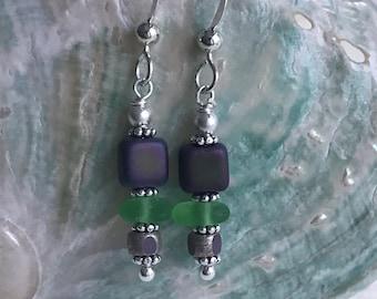 sterling silver green sea glass earrings, sea glass earrings, green sea glass earrings, bridal bridesmaid earrings, beach wedding