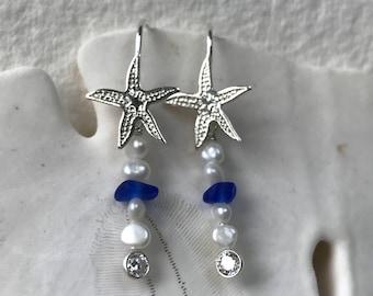 sterling silver starfish cobalt blue sea glass pearl earrings, sea glass earrings, blue sea glass earrings, bridal bridesmaid beach wedding