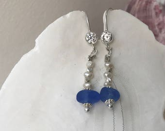 sterling silver cornflower blue sea glass pearl earrings, sea glass, blue sea glass earrings, bridal bridesmaid earrings, beach wedding