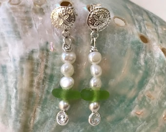 authentic green sea glass earrings, sea glass pearl earrings, green sea glass earrings, bridal bridesmaid beach wedding