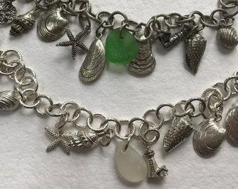 sea glass and seashells charm bracelet, sea shell charm bracelet, sea glass bracelet, shells bracelet, beachcombers bracelet, sea shells