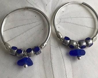 cobalt sea glass silver hoop earrings, glass bead and sea glass hoop earrings, glass bead earrings, cobalt sea glass silver hoop earrings