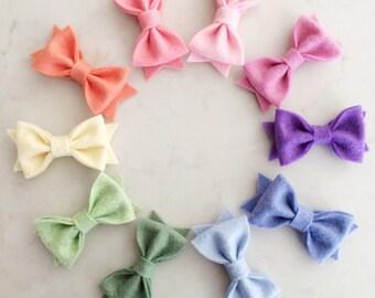 Felt Barrette Felt Hair Clip Felt Hair Bows Baby Bows Gift For Girls White Wool Felt No Slip Clover Shamrock Bows For Girls