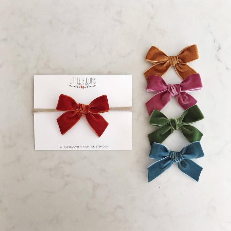Velvet Bow  nylon headband or hair clip image 0
