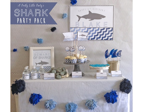 SHARK Birthday Party Pack  - Pool or Beach Party Supplies - INSTANT DOWNLOAD