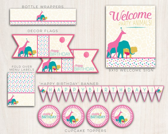 Safari Animals Party Pack Girls  - Animal Safari Party Party Supplies - INSTANT DOWNLOAD