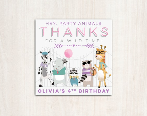 Hipster Zoo Animals Favor Tag  girls - zoo animal party supplies