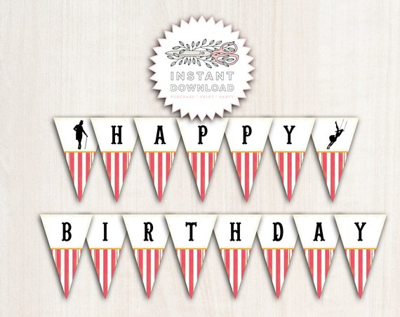 Pink Greatest Show Birthday Banner - Circus Banner in Pink - Party Supplies - INSTANT DOWNLOAD