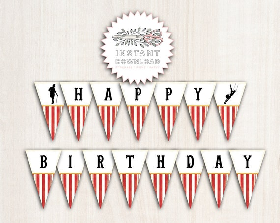 Red Greatest Show Birthday Banner - Circus Banner  - Party Supplies - INSTANT DOWNLOAD