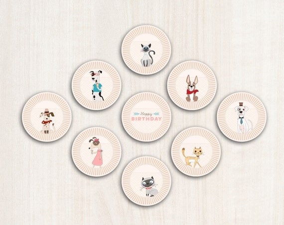 Hipster Dogs Cupcake Toppers - Puppy Adoption cupcake decals - Party Supplies - INSTANT DOWNLOAD