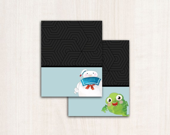 Ghostbuster menu labels - Ghostbusters fold over menu tags and party supplies - digital file