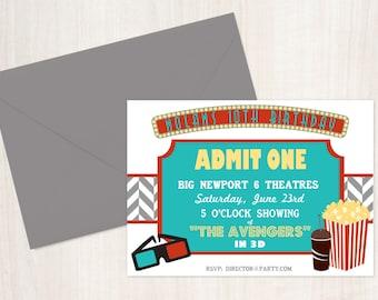 Items Similar To Movie Birthday Party Printable Invitation From The Celebration Shoppe On Etsy
