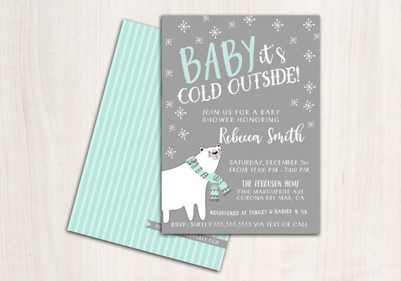 "Baby ""it's Cold"" Shower Invitation - Baby Shower Invite - Winter Party Supplies"