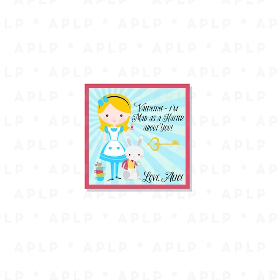 Wonderland Alice Valentine -Personalized Alice Valentines - Party Supplies