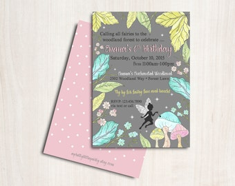 Fairy Invitation - Enchanted Woodland Fairy Party  - Printable Party Supplies