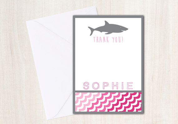 SHARK Thank You Notes with personalization -  Pink Shark Party Supplies