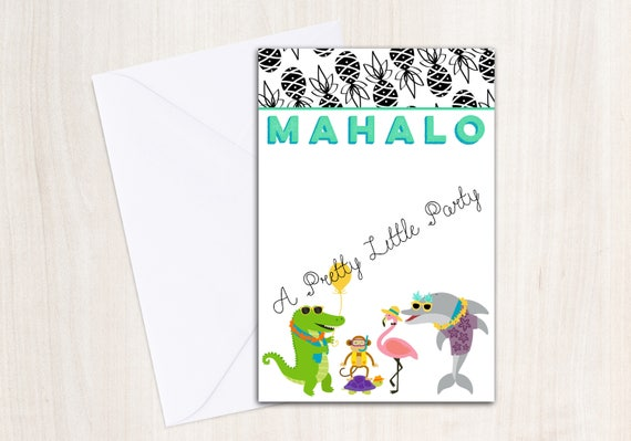 Summer Party Animals Thank you note - Luau party - pool party - INSTANT DOWNLOAD