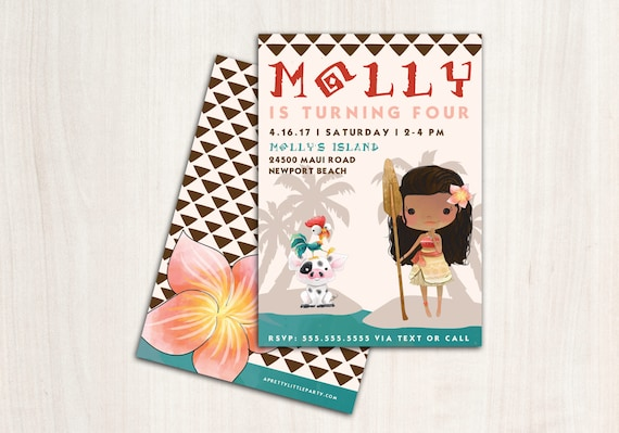 MoAna Birthday Invitation - Hawaiian Princess Party Invite