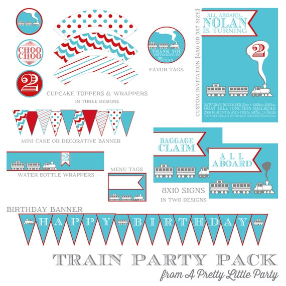 Modern Train Party Pack - Party Supplies - Custom Party Printables - Choo Choo Train