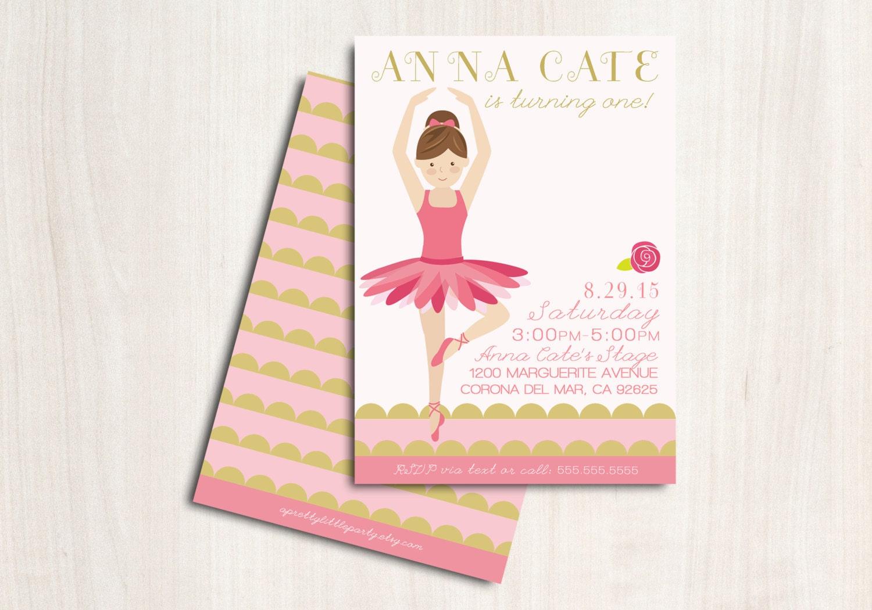 Ballerina Birthday Invite - Customized Ballet Party Invitation ...