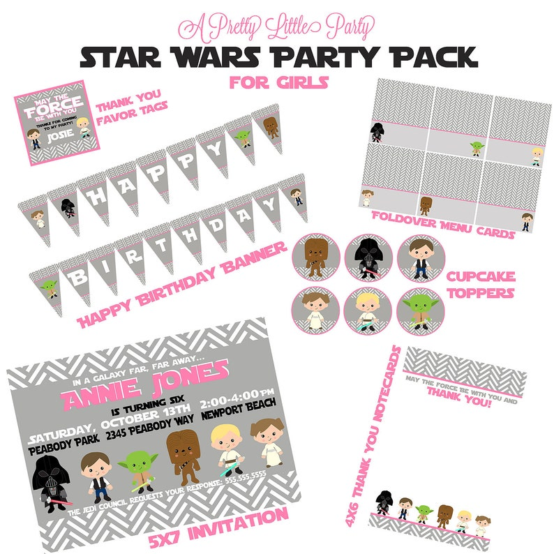 Star Wars Custom Birthday Party Pack For Girls
