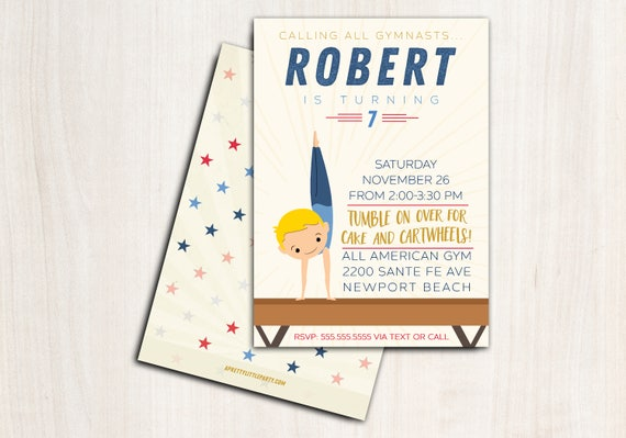 Boy Gymnastics Birthday Invite - Customized Gymnast Party Invitation