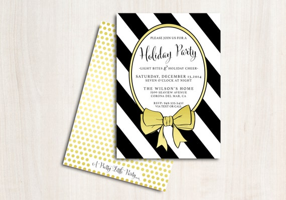 Gold Bow Holiday Party Invitation - Christmas Party Invite - Black & gold invitation