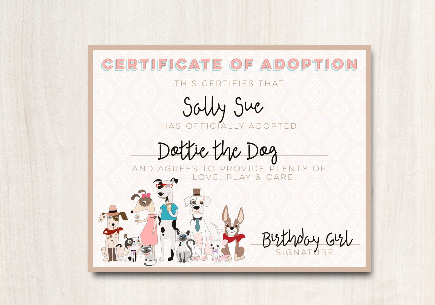 Hipster Dogs Adoption Certificate Puppy Adoption Certificate