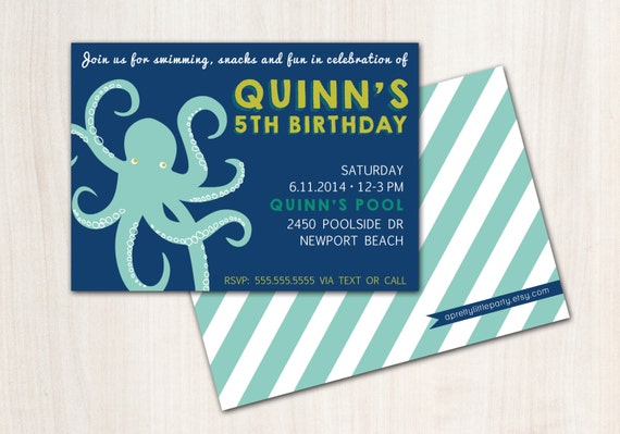 OCTOPUS Pool Party Birthday Invite - Modern Octopus Party Invitation - Beach Party  - Party Supplies