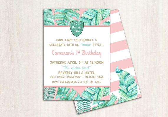 Troop Beverly Hills Invitation - Tropical Palm Party  - Printable Party Supplies