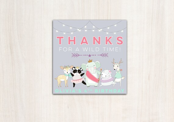 Darling Divas Favor Tags - Dance Party Thank You Tags - Animals - Party Supplies