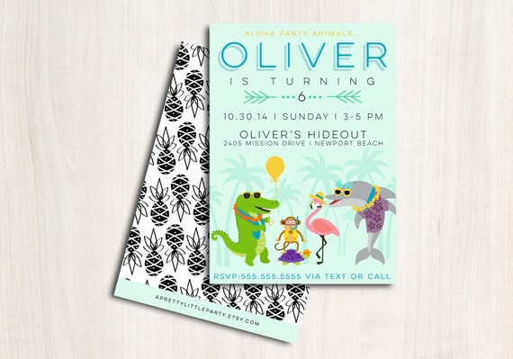 Summer Party Animals Birthday Invite - Pool Party Invitation - Beach Party  - Party Supplies