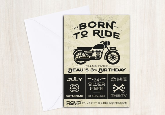 BORN TO RIDE Birthday Party Invite - Motorcycle Invitation - Party Supplies