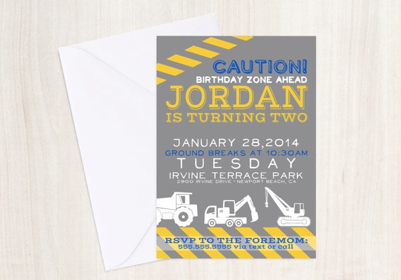Construction Party Invitation - Truck party Invitation- Digger Birthday - party supplies