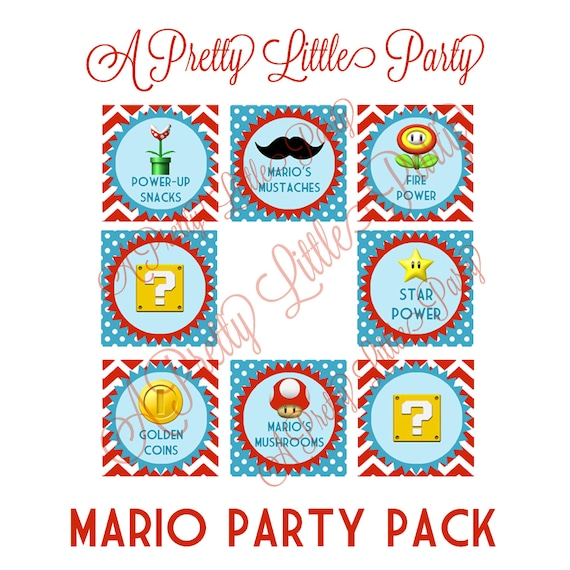 Mario Menu Tags - Super Mario - Mario Bros - Party Supplies - INSTANT DOWNLOAD
